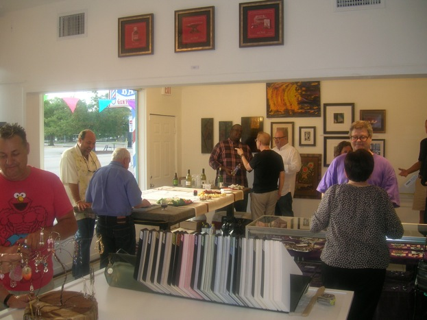 Cimino Gallery customers socialize and peruse art at May ArtWalk