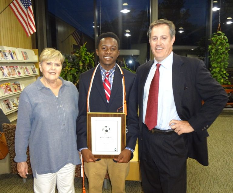 Brian Beck and his mother Roberta, with Award Recipient Kemani-Malik Hume