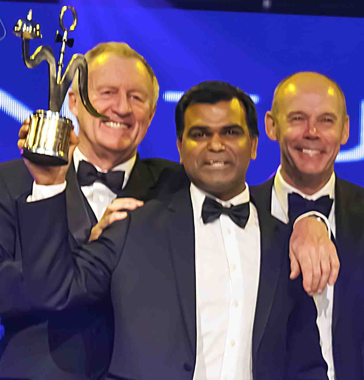 Avi Malik with Chris Tarrant and Sir Clive Woodward at the British Curry Awards