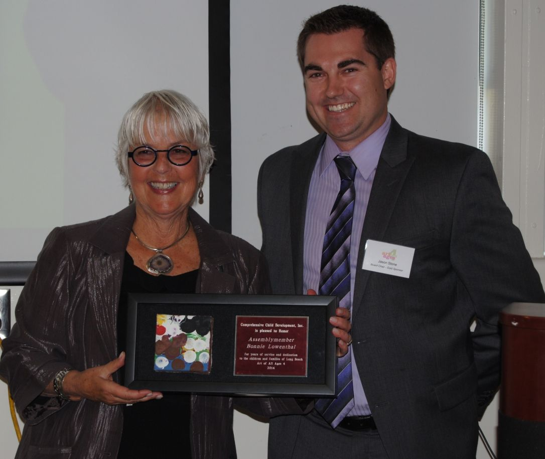 Board Chair Jason Stone with Assemblymember Bonnie Lowenthal