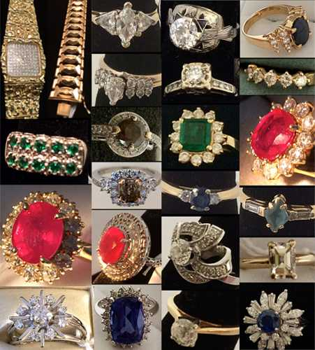 Many dazzling pieces of estate jewelry, like these shown, will be sold June 15th