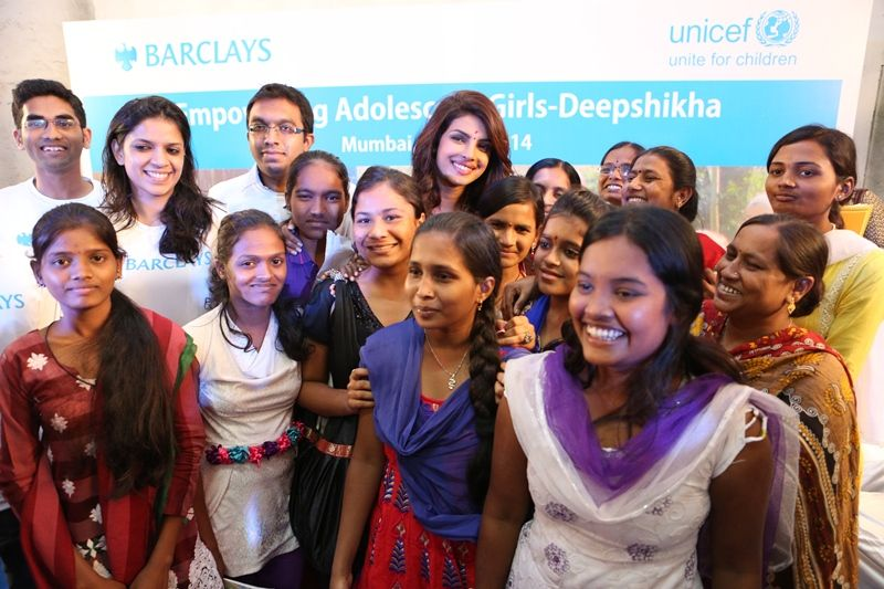 UNICEF Goodwill Ambassador Priyanka Chopra with the girls of Deepshikha Program