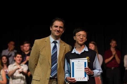 Caleb Ji to Compete at IMO 2014 (pictured with math teacher Steven Prokopchuk)