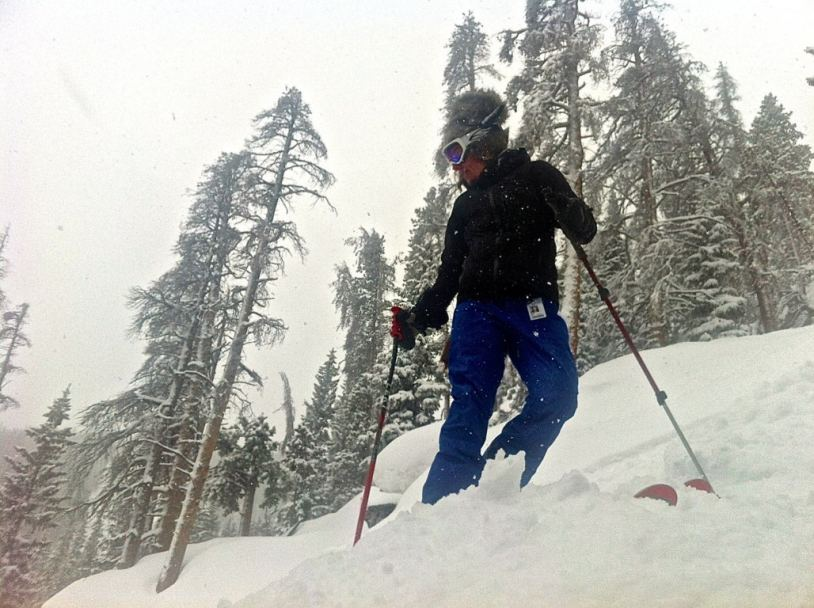 Alexis McLean prepares to drop in while wearing one of the 7 ski pants tested.