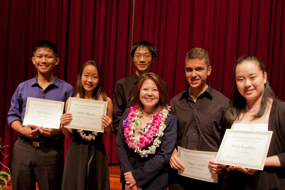 Young winners of 2014 Aloha International Piano Competition with Lisa Nakamichi