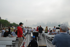 Volunteers taking the work ferry to Liberty Island.