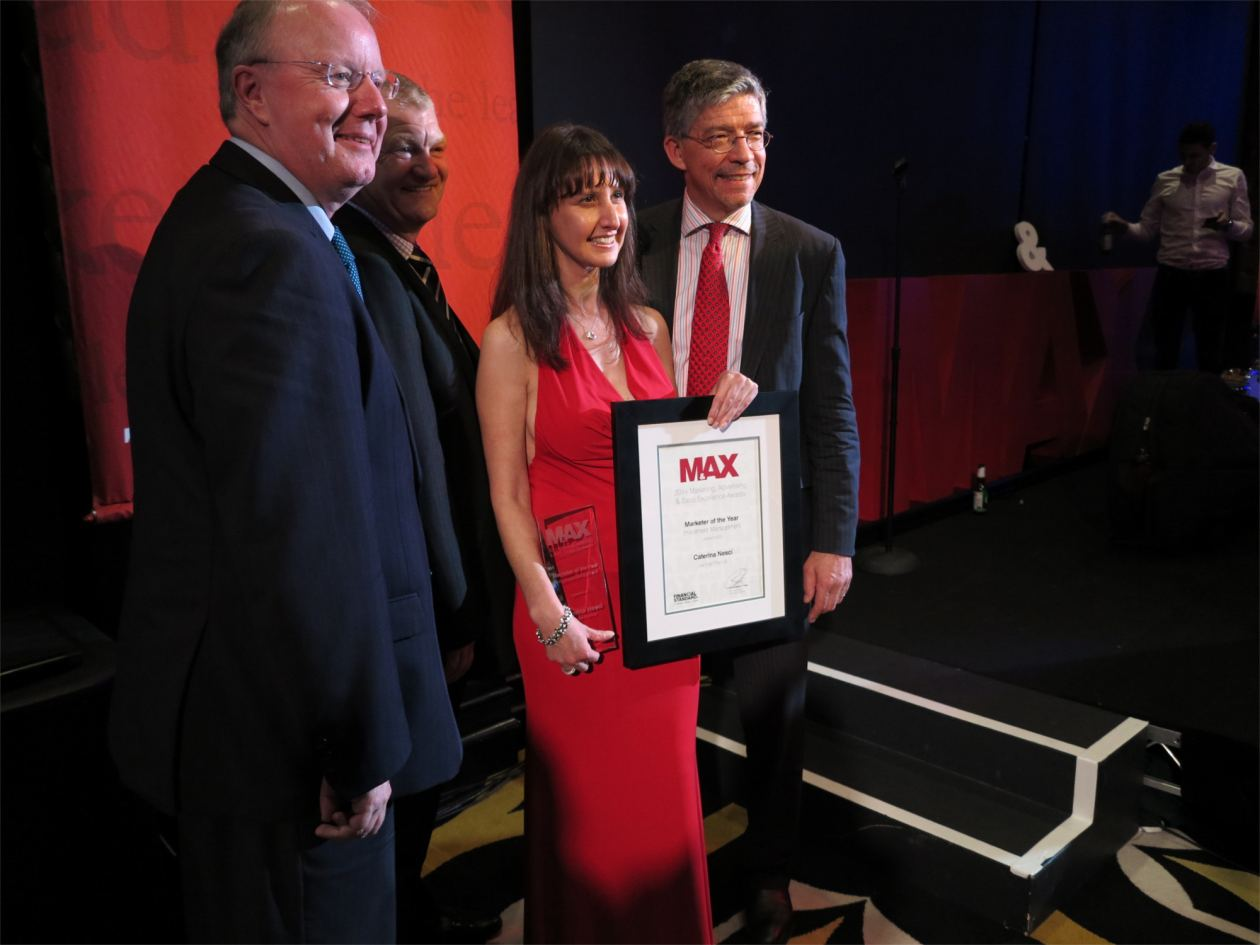 Caterina Nesci receiving MAX award 2014