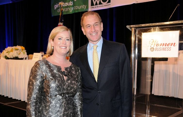 OCBJ Publisher & CEO Richard Reisman and Keynote Speaker Lindsey Ueberroth.