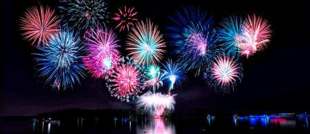 Fireworks over the lake is the ideal end to the 4th of July at Lanier Islands