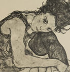 A detail of one of the signed Schiele prints featured at Shapiro Auctions, NY