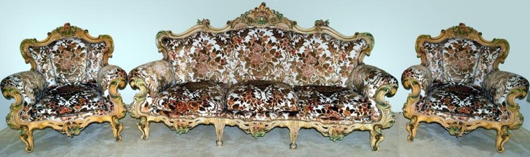 This Italian rococo-style couch with two side chairs will be auctioned July 26.