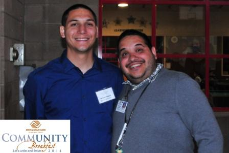 Scholarship winner & alumnus  Michael V. with staff member