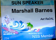 Marshall Barnes' 2014 ISDC Speaker Badge (Copyright 2014)