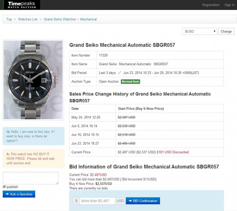 Timepeaks item page