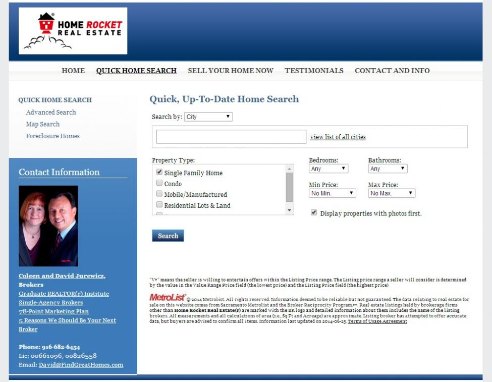 Rocket Home Search website quickly and easily searches homes for sale.