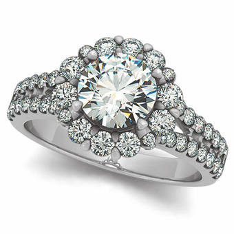 Featured is the Bling engagement ring now available with lab created diamonds.