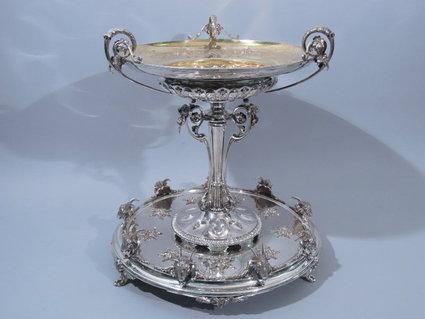 silver antique gorham coin silver centerpiece 19th