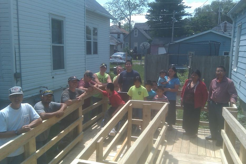 IKORCC members worked with SAWs to build wheelchair ramp for familhy