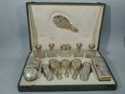 french art nouveau vanity set sterling silver