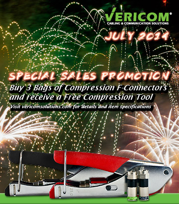 VERICOM Global Solutions July 2014 Special Savings Promotion on F-Connectors