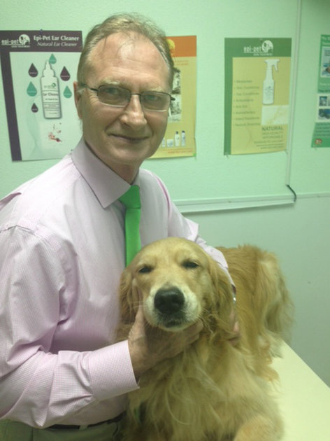 Dr. Fleck and his dog, Hannah