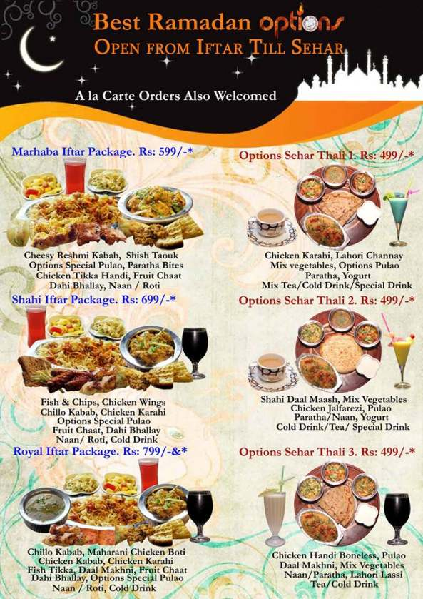 Options Restaurant Lahore Menu Card