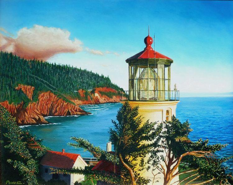 "Tony Podue, Anaheim Hills, CA, ""Haceta Lighthouse"", Acrylic, 24"" x 30"""