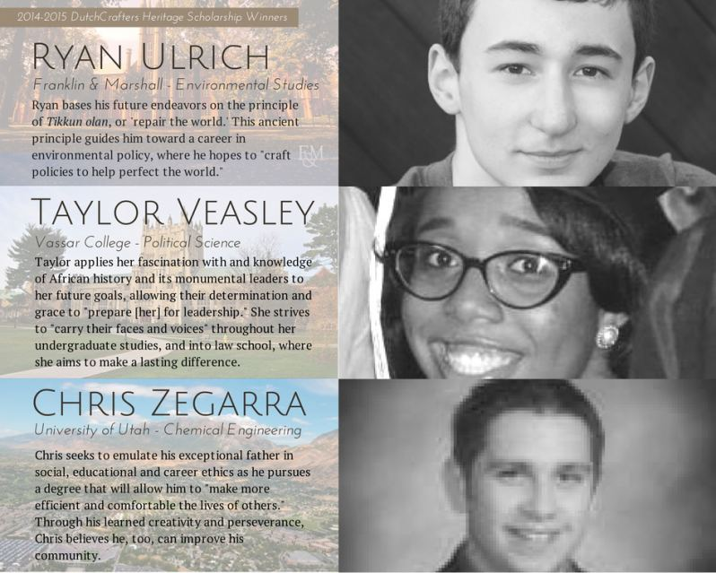 2014-2015 DutchCrafters Heritage Scholarship Winners