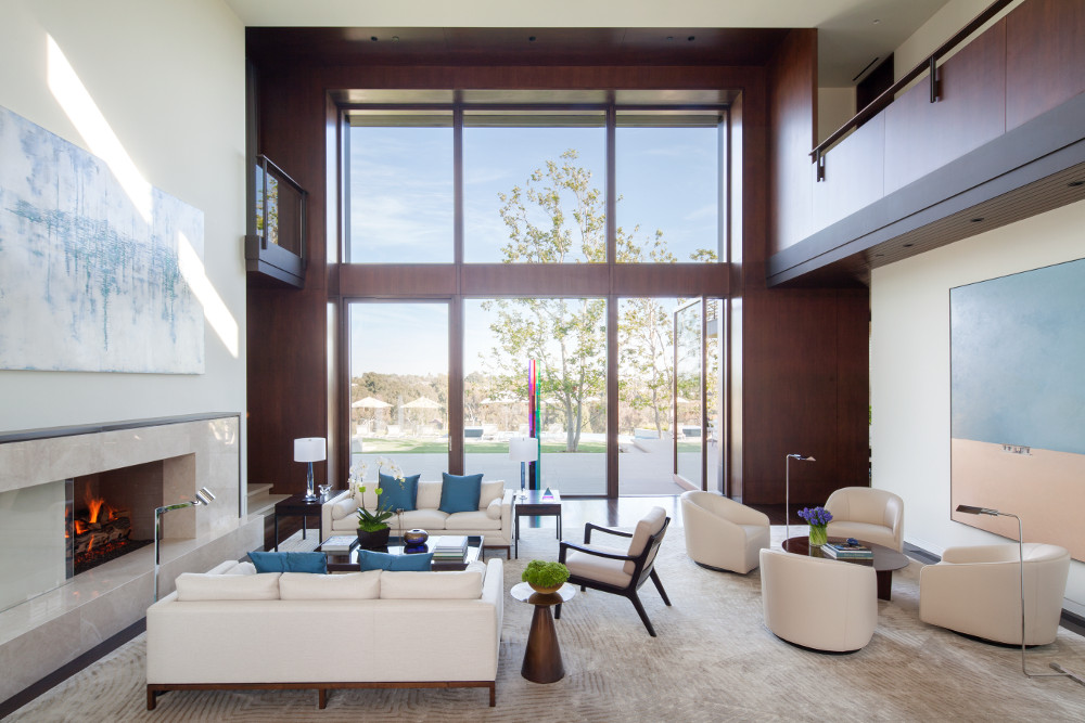 Modern Double Pivot Doors and Transom