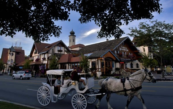 Horse Carriage in front of Restaurant