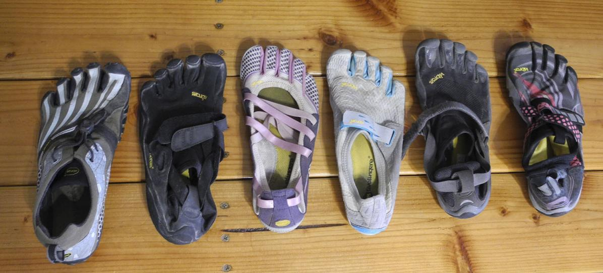 A comparison of different styles of women's barefoot shoes on the market.