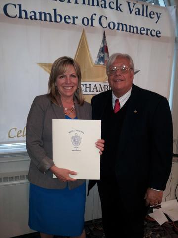 Karen Gomes, RN, MS, CPHQ, Vice President of Home Health VNA, accepts MVCC Award