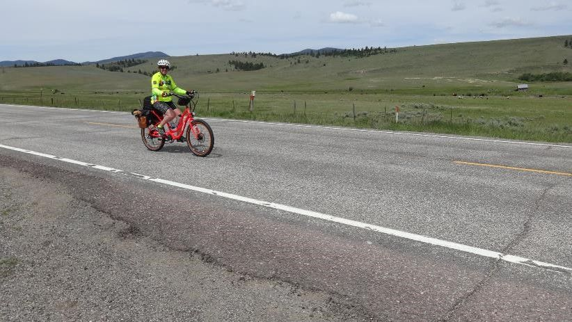 Cathy Rogers and her Pedego electric bike have traveled halfway across the USA.