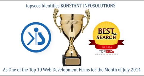 Konstant Infosolutions awarded by topseo