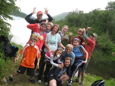 Extended family goofing in Glacier NP