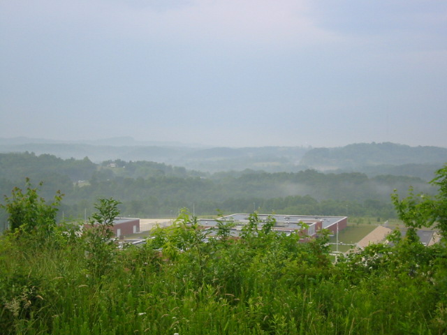View of armory and summit from top of Wood mountain
