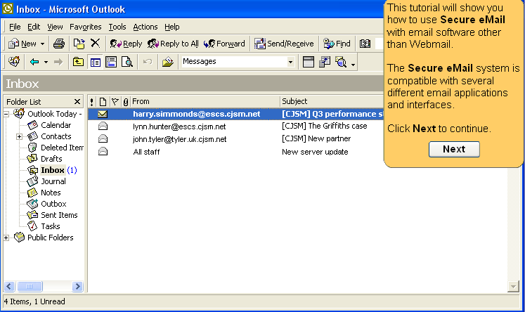 Screenshot of the Outlook Office email portal displaying incoming CJS emails