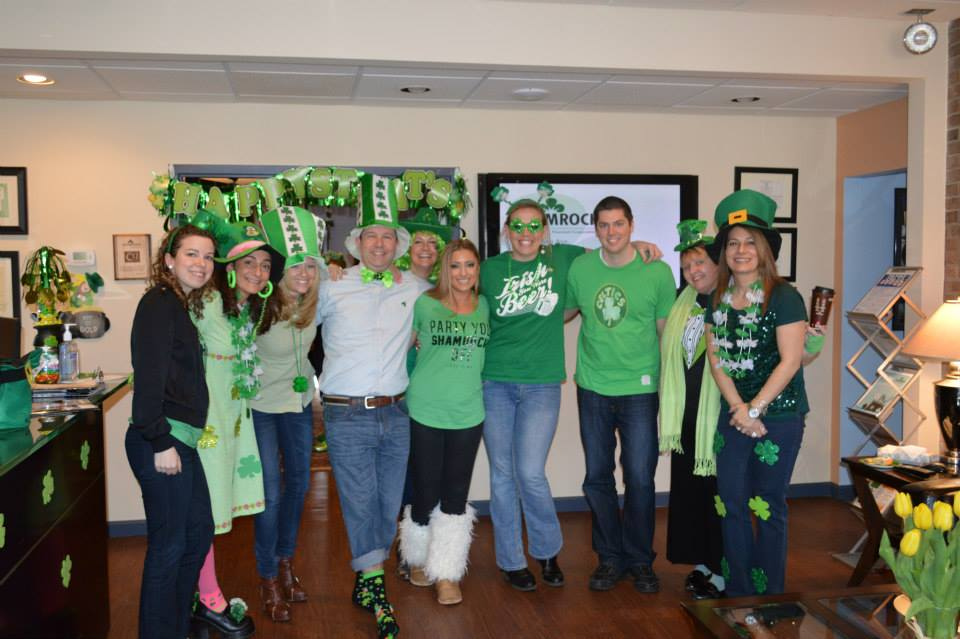 The staff at Shamrock Financial celebrating at their annual St. Patty's Jammer.