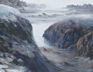 """Timber Point Blues"" ~ Pastel on Vellum ~ 32"" x 40"""