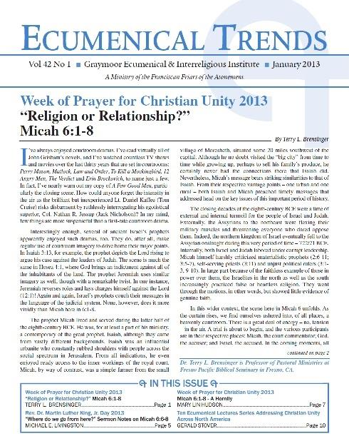 Ecumenical Trends, a publication of GEII, an Atonement Friars' Ministry