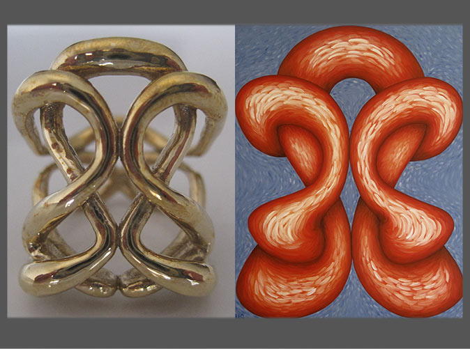 sloris 3D printed 'one infinity' ring and the painting that inspired it