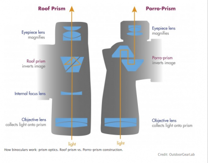 A diagram showing the difference between porro-prism and roof prism models.