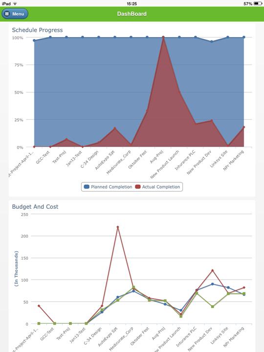 iPad App - Portfolio Dashboard ZilicusPM Project Management Software