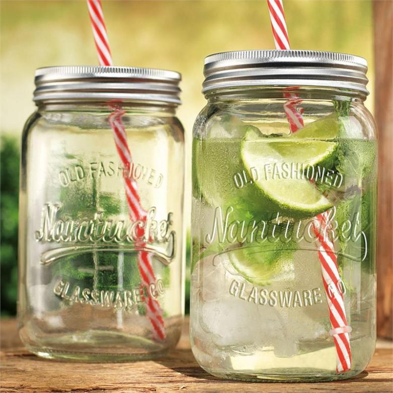 Nantucket Mason Jar Sippers with Straw