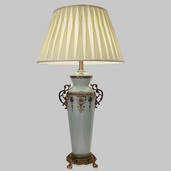 Blue Lamp base with white shade