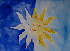 The Moon and Sun watercolor, just released, is offered as cards and posters.