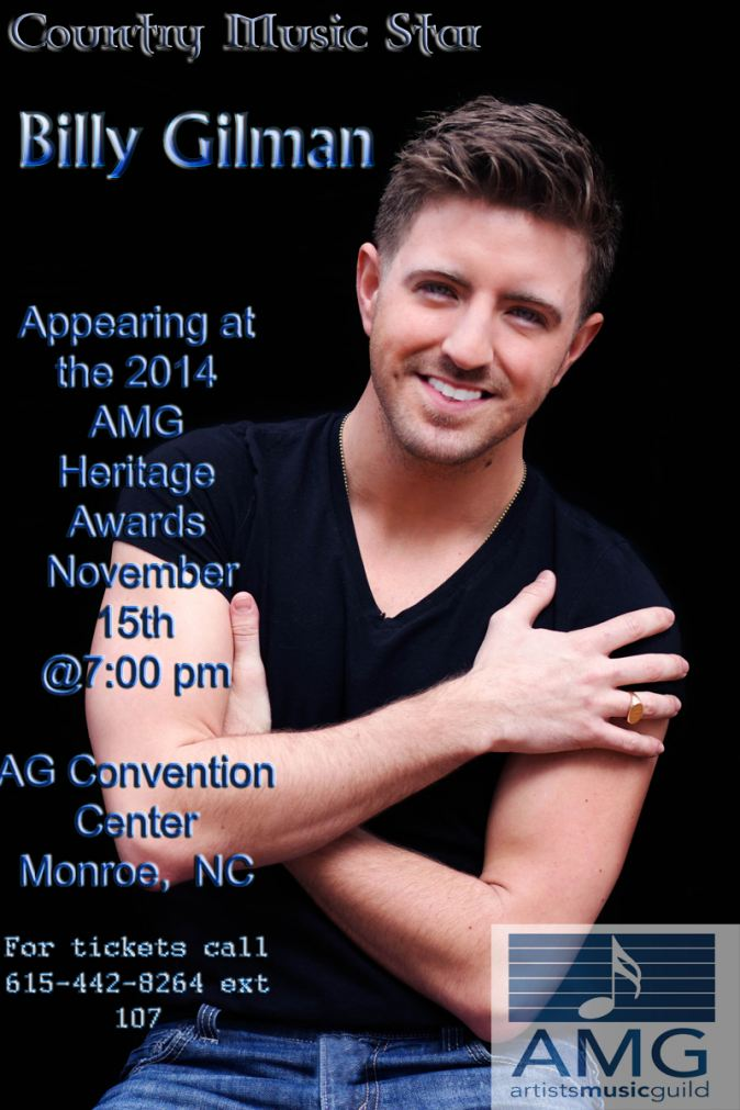 Billy Gilman to Hosts the 2014 AMG Heritage Awards on Nov 15th