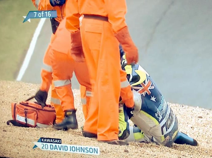 Superbike rider David Johnson, not seriously hurt after crashing at Brands Hatch