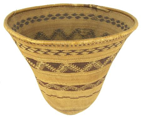 This circa-1890 Pomo basket with geometric designs done in red fern will be sold