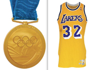 (Left) Gold Medal from 2000 Sydney Olympics presented to Vin Baker of the USA